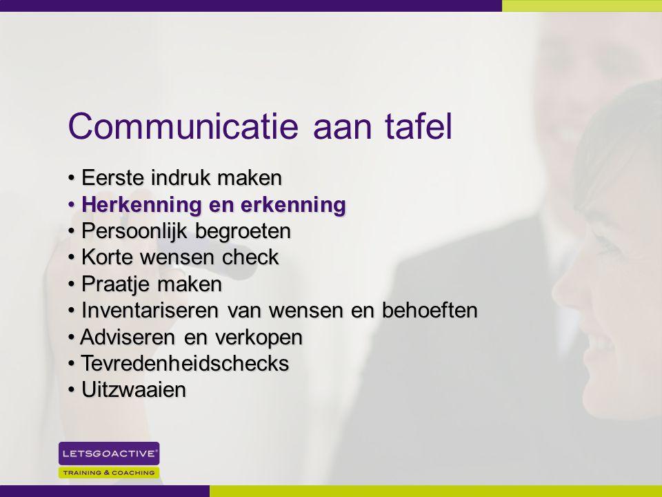 18 Communicatie aan tafel Eerste indruk maken Eerste indruk maken Herkenning en erkenning Herkenning en erkenning Persoonlijk begroeten Persoonlijk be