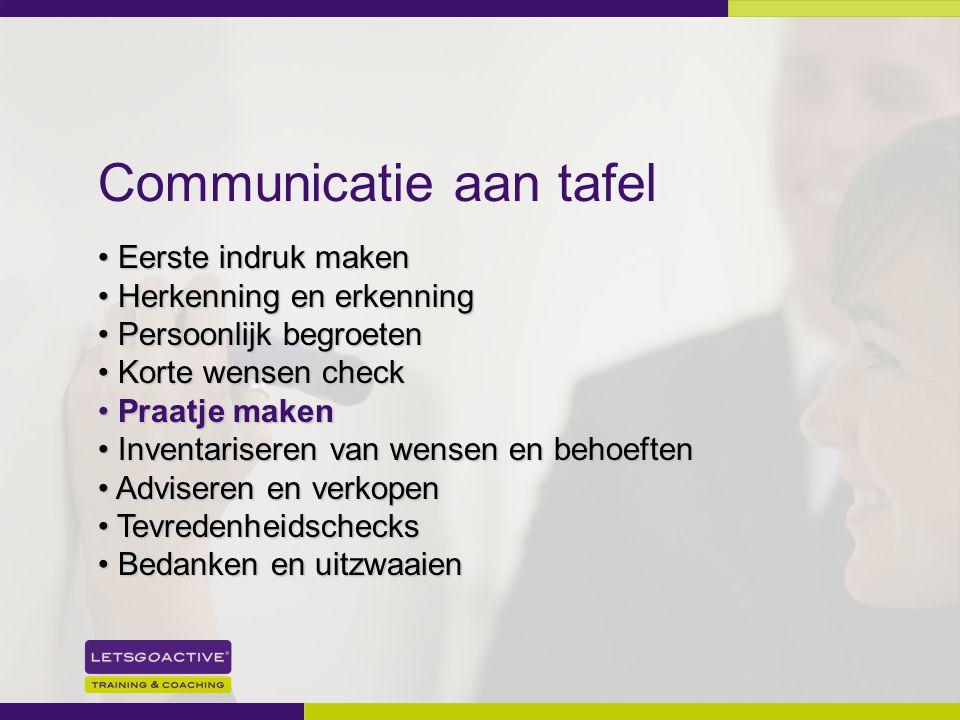 21 Communicatie aan tafel Eerste indruk maken Eerste indruk maken Herkenning en erkenning Herkenning en erkenning Persoonlijk begroeten Persoonlijk be