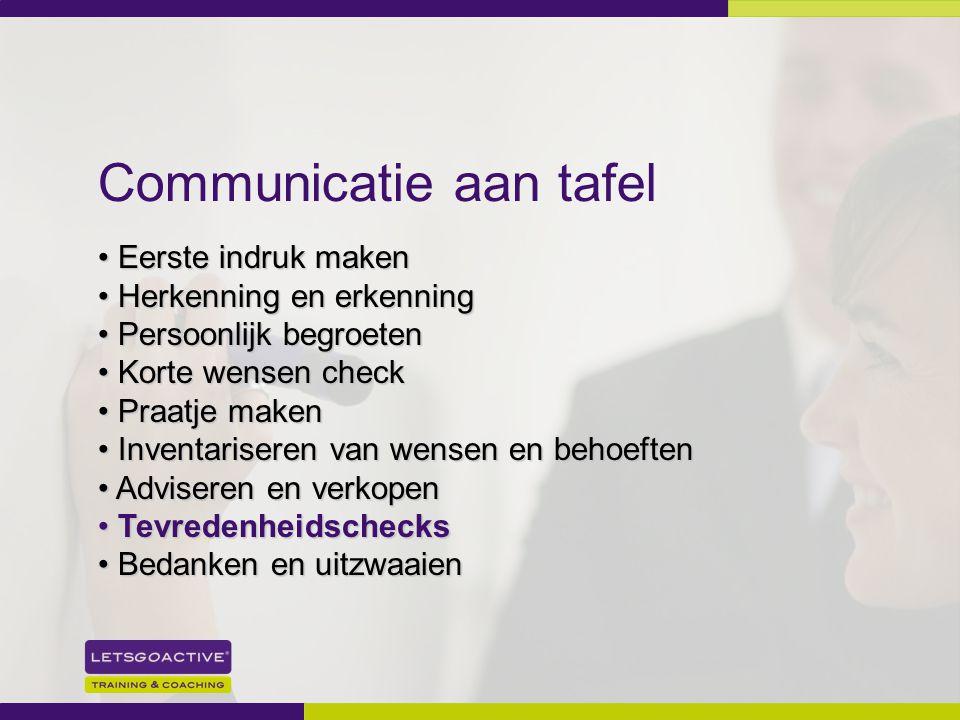 25 Communicatie aan tafel Eerste indruk maken Eerste indruk maken Herkenning en erkenning Herkenning en erkenning Persoonlijk begroeten Persoonlijk be