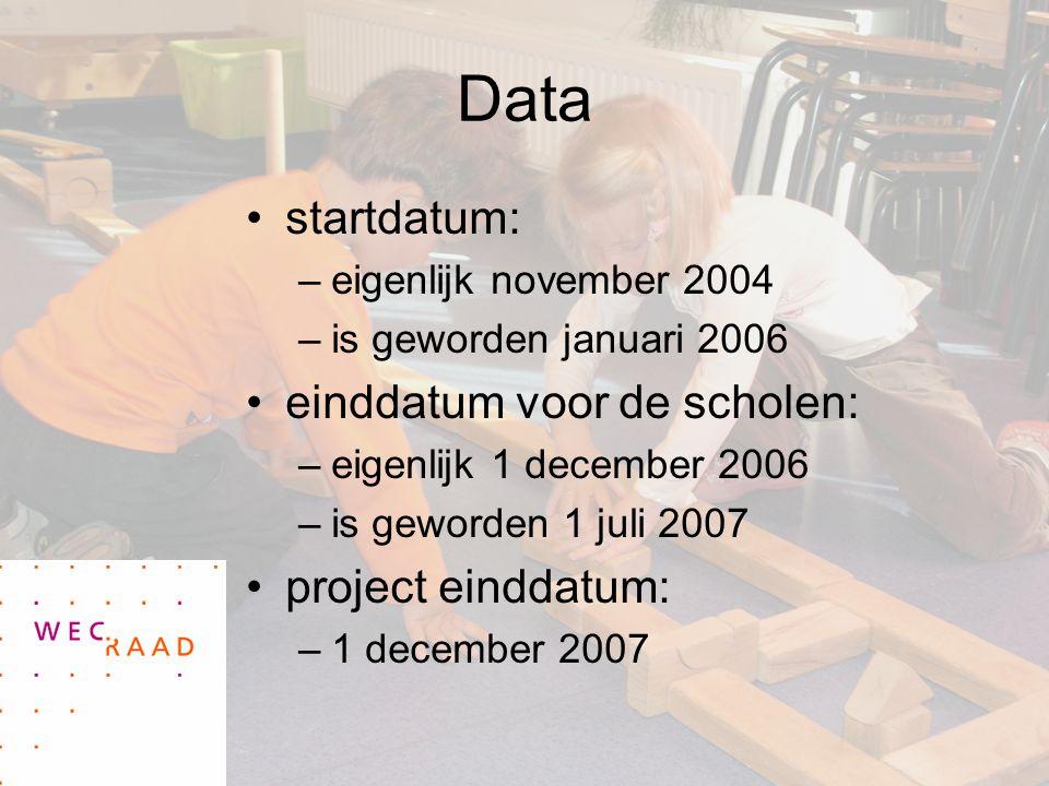 Data startdatum: –eigenlijk november 2004 –is geworden januari 2006 einddatum voor de scholen: –eigenlijk 1 december 2006 –is geworden 1 juli 2007 project einddatum: –1 december 2007