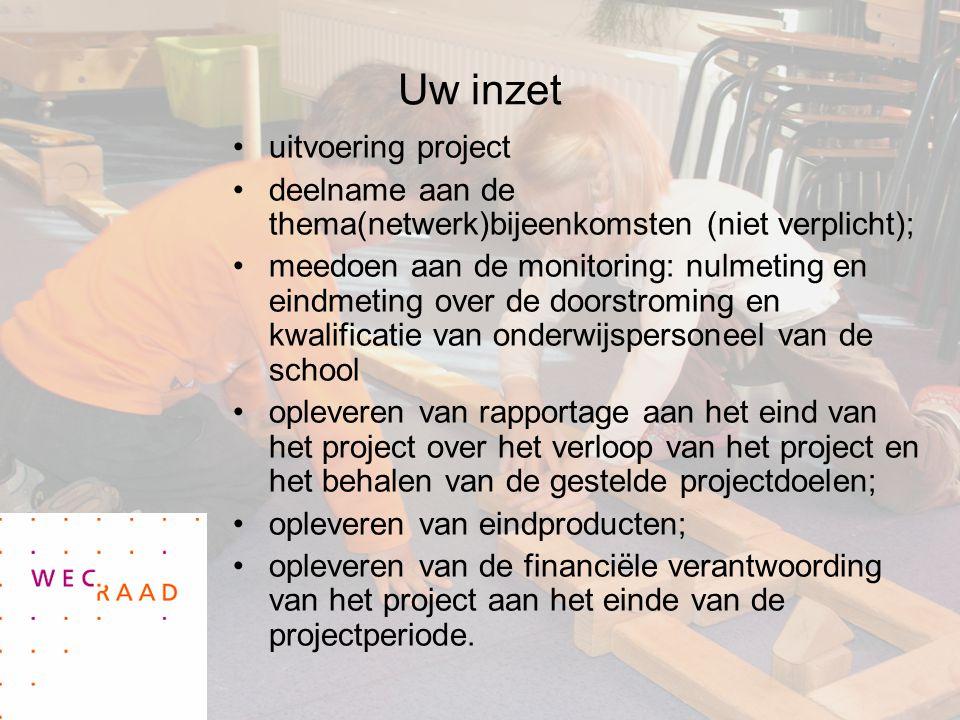 Uw inzet uitvoering project deelname aan de thema(netwerk)bijeenkomsten (niet verplicht); meedoen aan de monitoring: nulmeting en eindmeting over de d