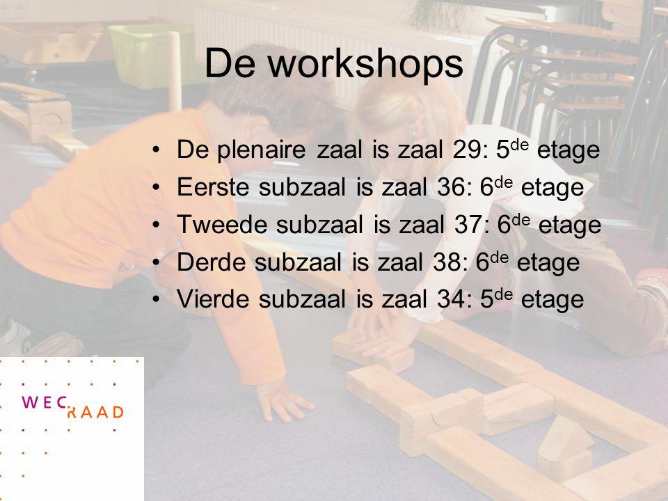 De workshops De plenaire zaal is zaal 29: 5 de etage Eerste subzaal is zaal 36: 6 de etage Tweede subzaal is zaal 37: 6 de etage Derde subzaal is zaal