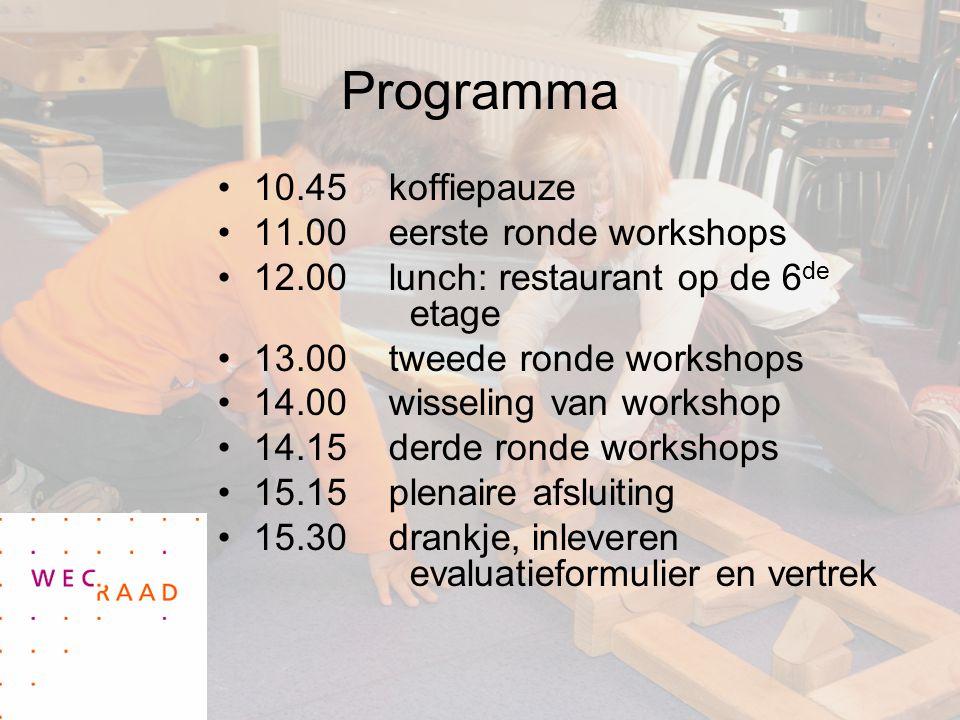 Programma 10.45 koffiepauze 11.00 eerste ronde workshops 12.00 lunch: restaurant op de 6 de etage 13.00 tweede ronde workshops 14.00 wisseling van workshop 14.15 derde ronde workshops 15.15 plenaire afsluiting 15.30 drankje, inleveren evaluatieformulier en vertrek