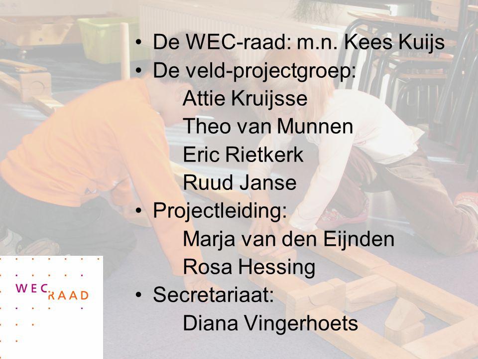 De WEC-raad: m.n. Kees Kuijs De veld-projectgroep: Attie Kruijsse Theo van Munnen Eric Rietkerk Ruud Janse Projectleiding: Marja van den Eijnden Rosa