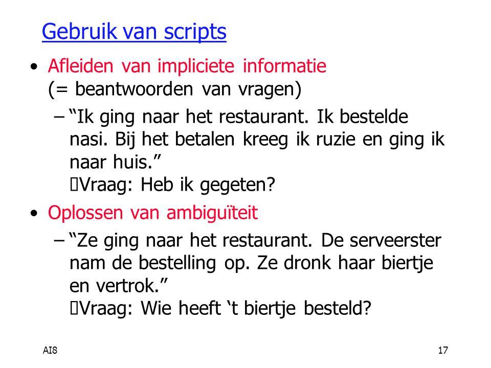 AI817 Gebruik van scripts Afleiden van impliciete informatie (= beantwoorden van vragen) – Ik ging naar het restaurant.