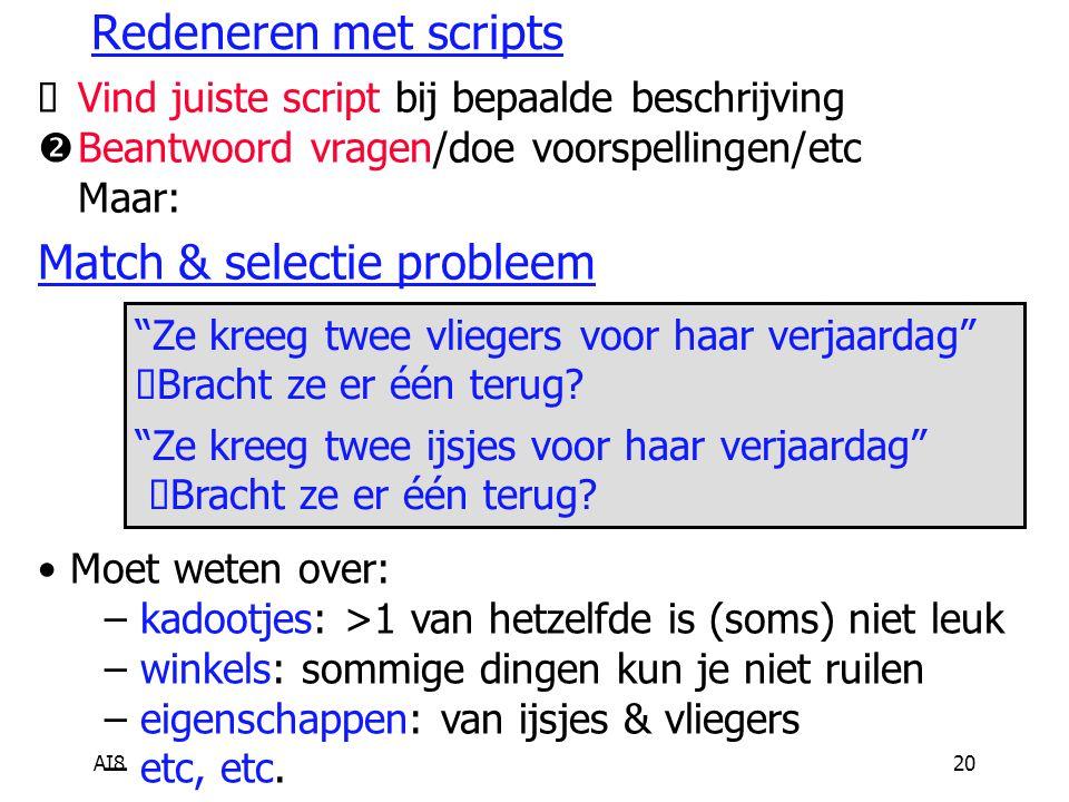 AI820 Redeneren met scripts  Vind juiste script bij bepaalde beschrijving  Beantwoord vragen/doe voorspellingen/etc  Maar: Match & selectie problee