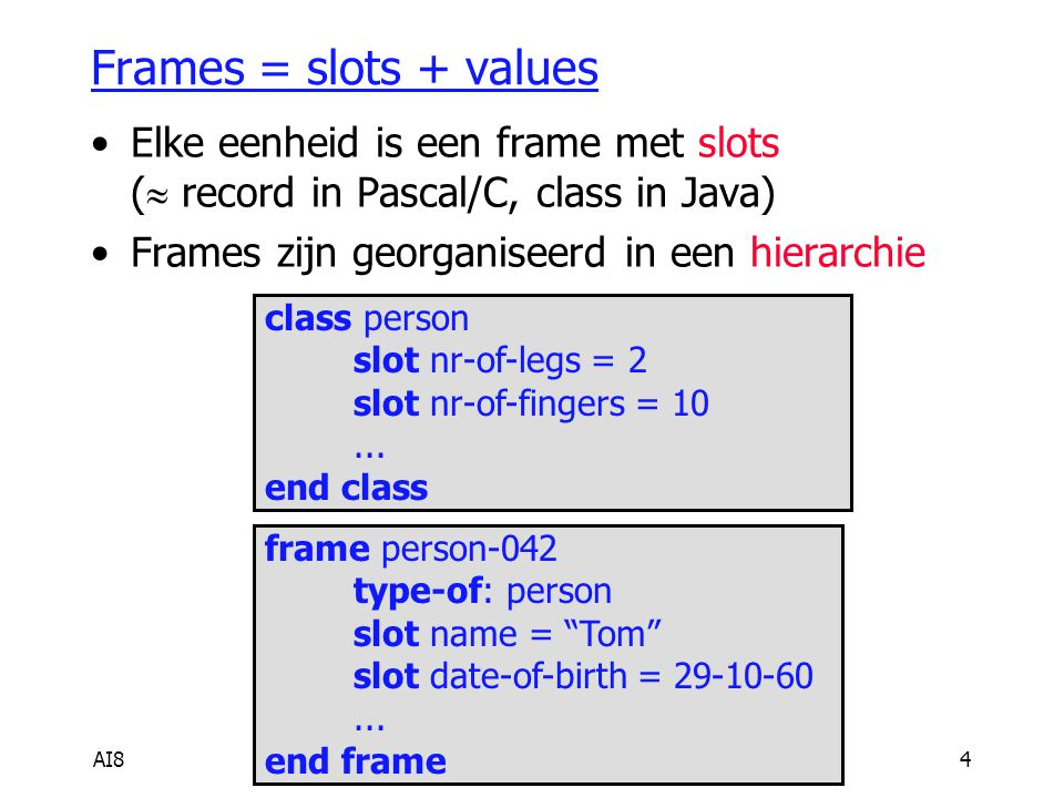 AI84 Frames = slots + values Elke eenheid is een frame met slots (  record in Pascal/C, class in Java) Frames zijn georganiseerd in een hierarchie cl