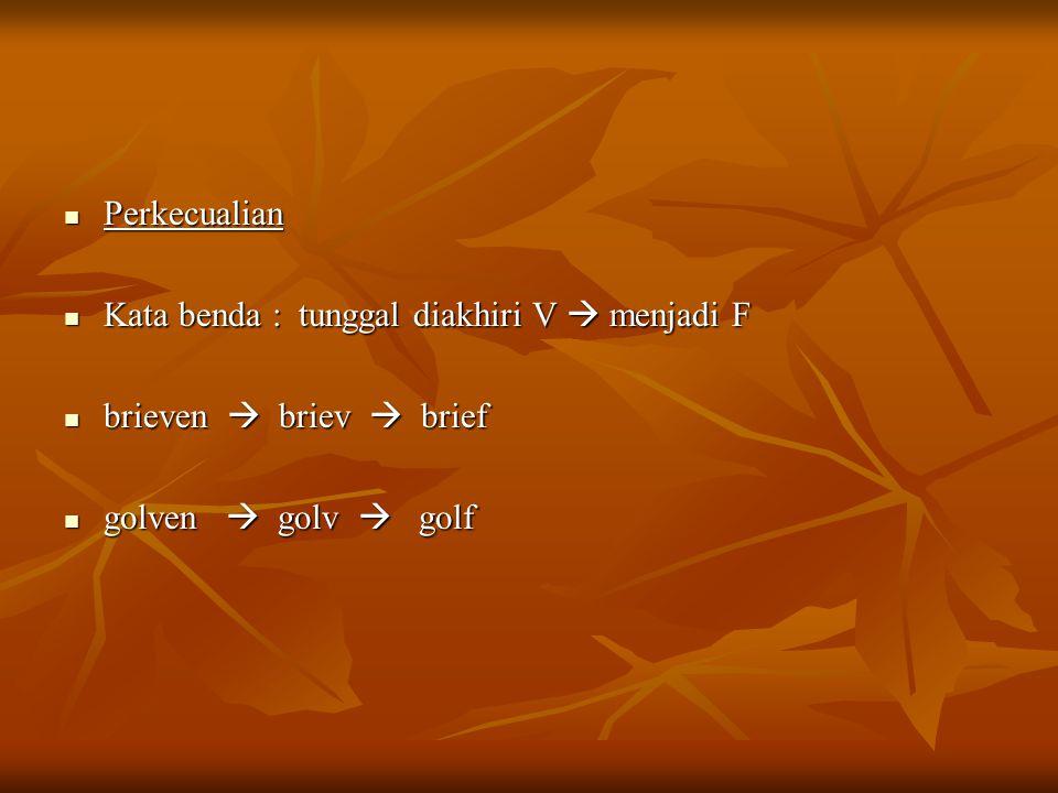 Perkecualian Kata benda : tunggal diakhiri V  menjadi F brieven  briev  brief golven  golv  golf