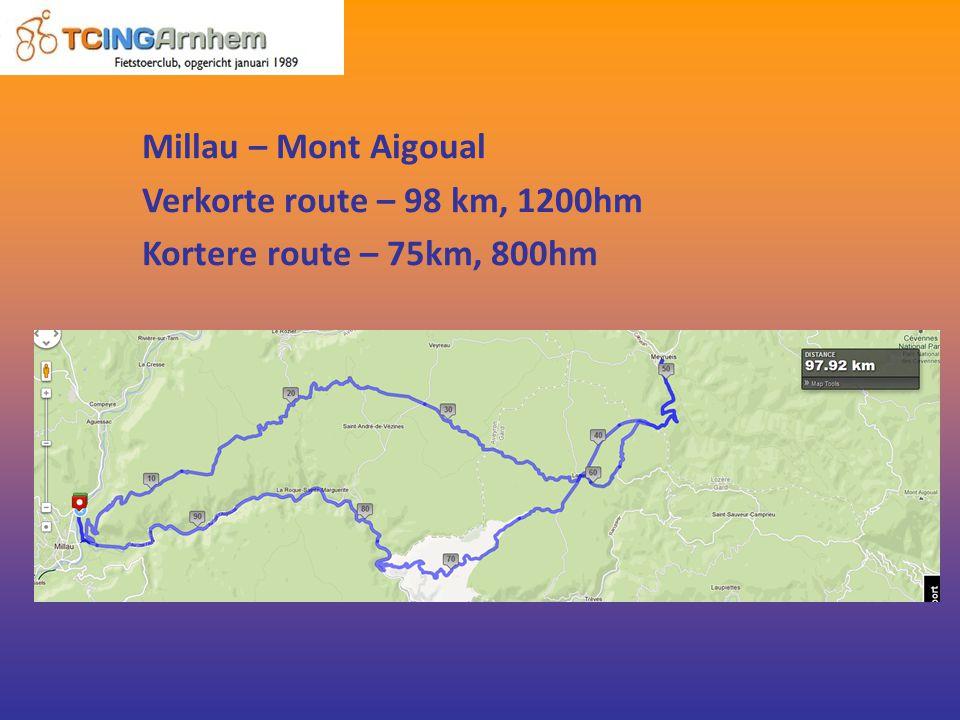Millau – Mont Aigoual Verkorte route – 98 km, 1200hm Kortere route – 75km, 800hm