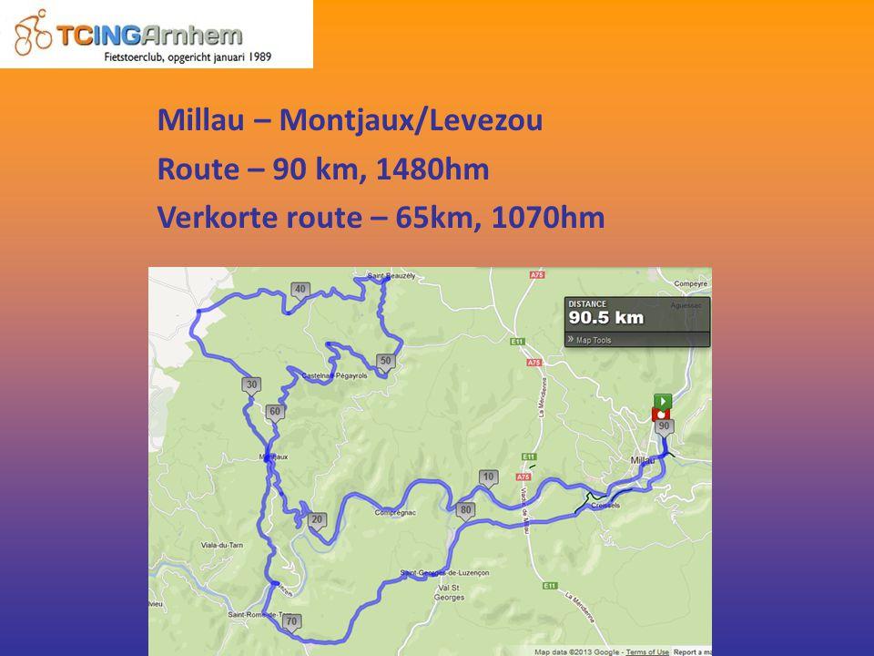 Millau – Montjaux/Levezou Route – 90 km, 1480hm Verkorte route – 65km, 1070hm