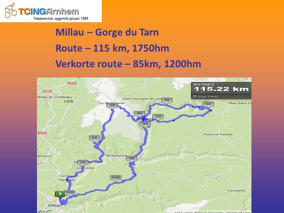 Millau – Gorge du Tarn Route – 115 km, 1750hm Verkorte route – 85km, 1200hm