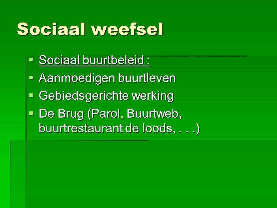 Sociaal weefsel  Sociaal buurtbeleid :  Aanmoedigen buurtleven  Gebiedsgerichte werking  De Brug (Parol, Buurtweb, buurtrestaurant de loods,...)