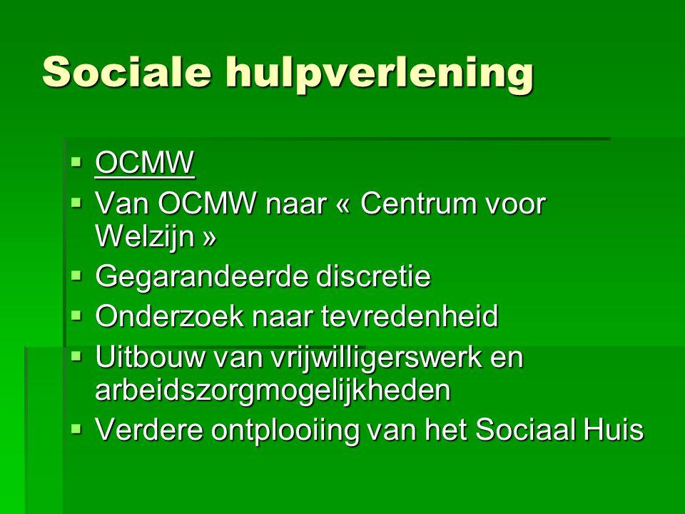 Sociale hulpverlening  OCMW  Van OCMW naar « Centrum voor Welzijn »  Gegarandeerde discretie  Onderzoek naar tevredenheid  Uitbouw van vrijwilligerswerk en arbeidszorgmogelijkheden  Verdere ontplooiing van het Sociaal Huis