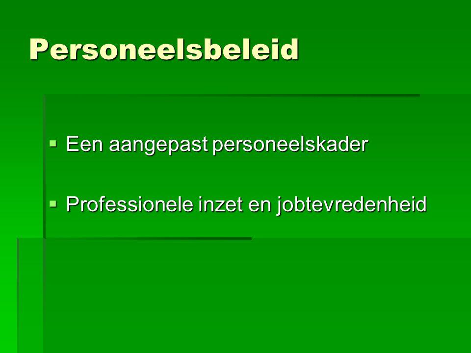 Personeelsbeleid  Een aangepast personeelskader  Professionele inzet en jobtevredenheid