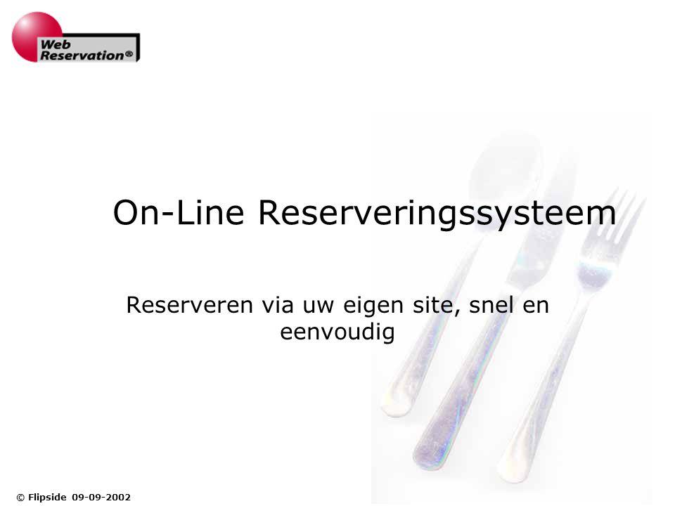 © Flipside 09-09-2002 On-Line Reserveringssysteem Reserveren via uw eigen site, snel en eenvoudig