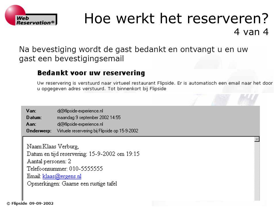 © Flipside 09-09-2002 Hoe werkt het reserveren.