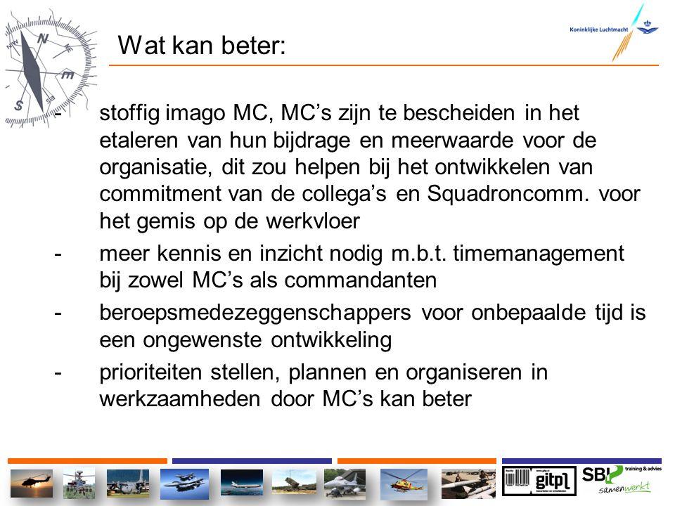 Wat kan beter: -stoffig imago MC, MC's zijn te bescheiden in het etaleren van hun bijdrage en meerwaarde voor de organisatie, dit zou helpen bij het o