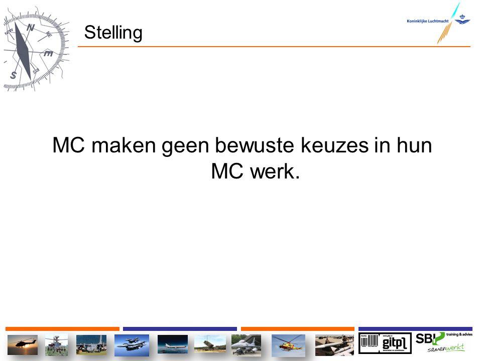 Stelling MC maken geen bewuste keuzes in hun MC werk.