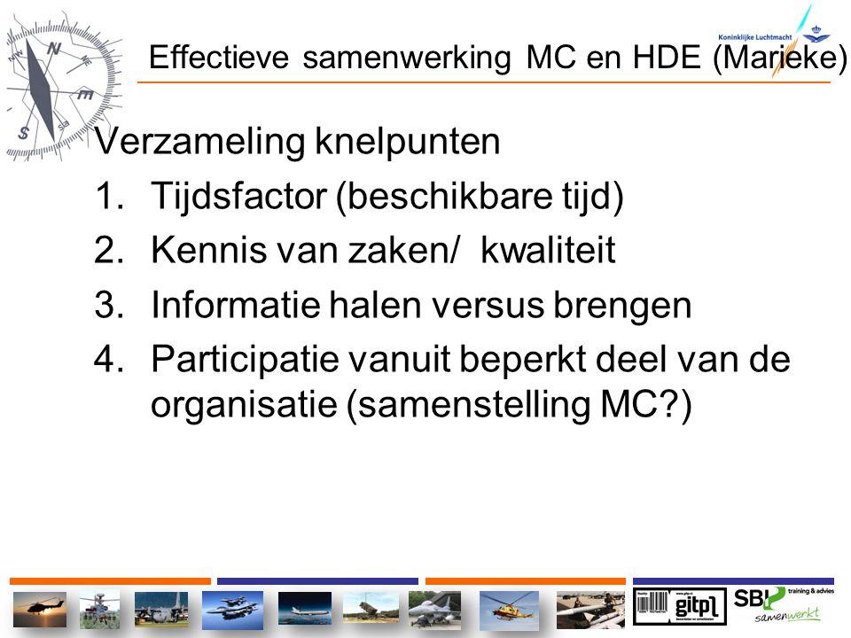 Effectieve samenwerking MC en HDE (Marieke) Verzameling knelpunten 1.Tijdsfactor (beschikbare tijd) 2.Kennis van zaken/ kwaliteit 3.Informatie halen v