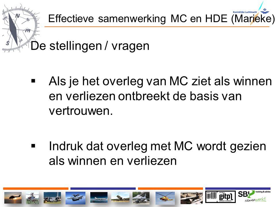 Effectieve samenwerking MC en HDE (Marieke) De stellingen / vragen  Als je het overleg van MC ziet als winnen en verliezen ontbreekt de basis van ver