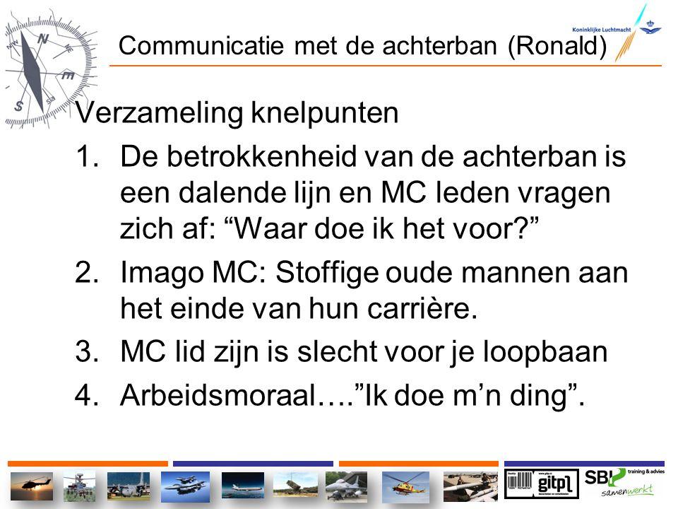 """Communicatie met de achterban (Ronald) Verzameling knelpunten 1.De betrokkenheid van de achterban is een dalende lijn en MC leden vragen zich af: """"Waa"""