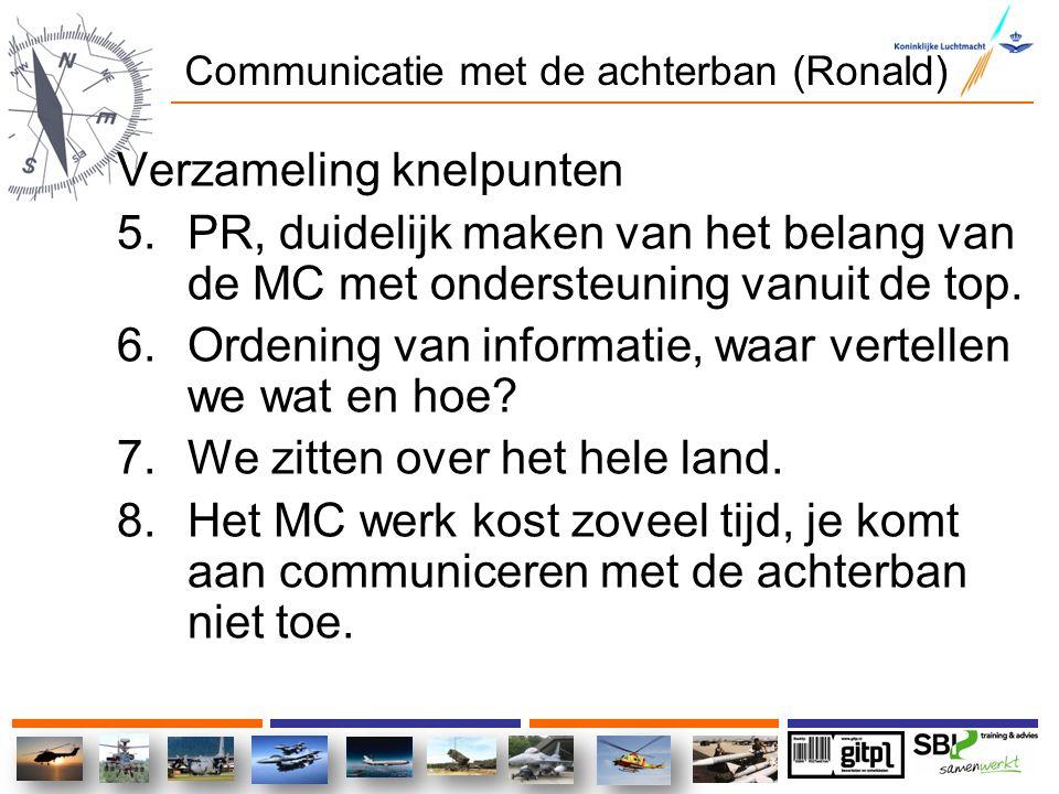 Communicatie met de achterban (Ronald) Verzameling knelpunten 5.PR, duidelijk maken van het belang van de MC met ondersteuning vanuit de top. 6.Ordeni