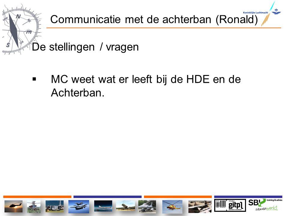 Communicatie met de achterban (Ronald) De stellingen / vragen  MC weet wat er leeft bij de HDE en de Achterban.
