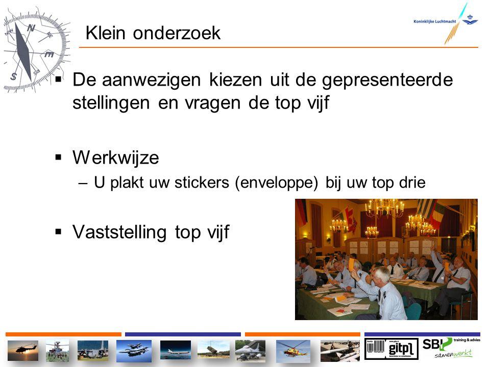 Klein onderzoek  De aanwezigen kiezen uit de gepresenteerde stellingen en vragen de top vijf  Werkwijze –U plakt uw stickers (enveloppe) bij uw top