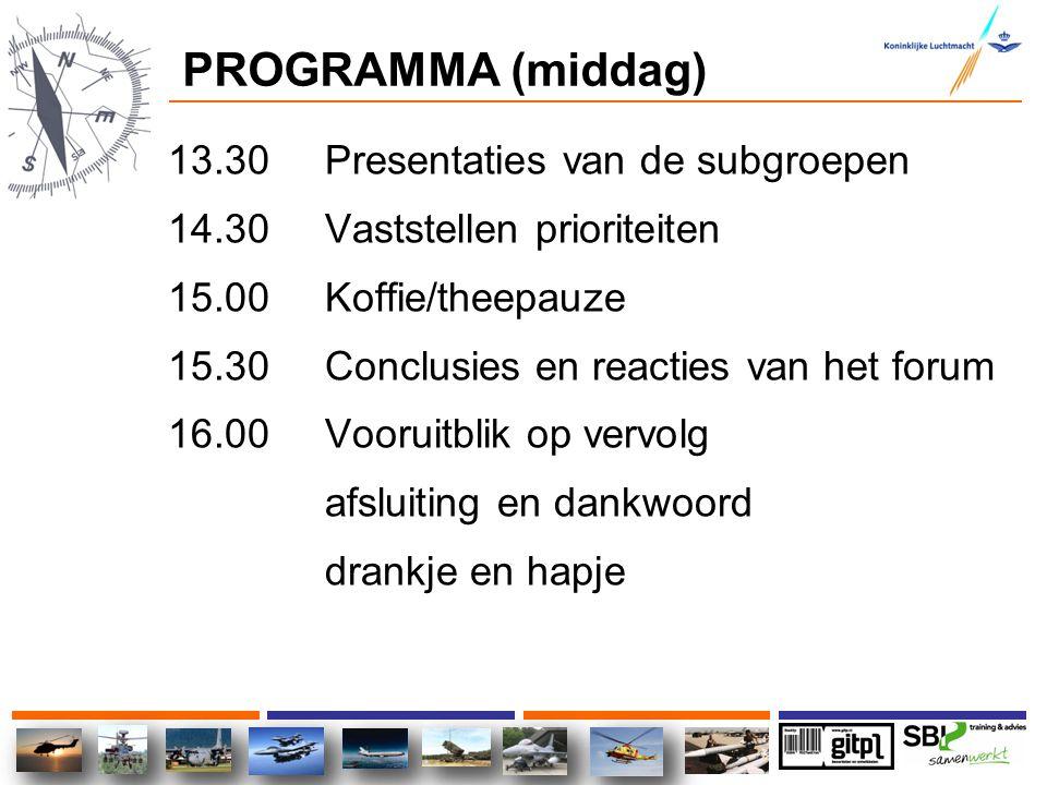 PROGRAMMA (middag) 13.30 Presentaties van de subgroepen 14.30 Vaststellen prioriteiten 15.00 Koffie/theepauze 15.30 Conclusies en reacties van het for
