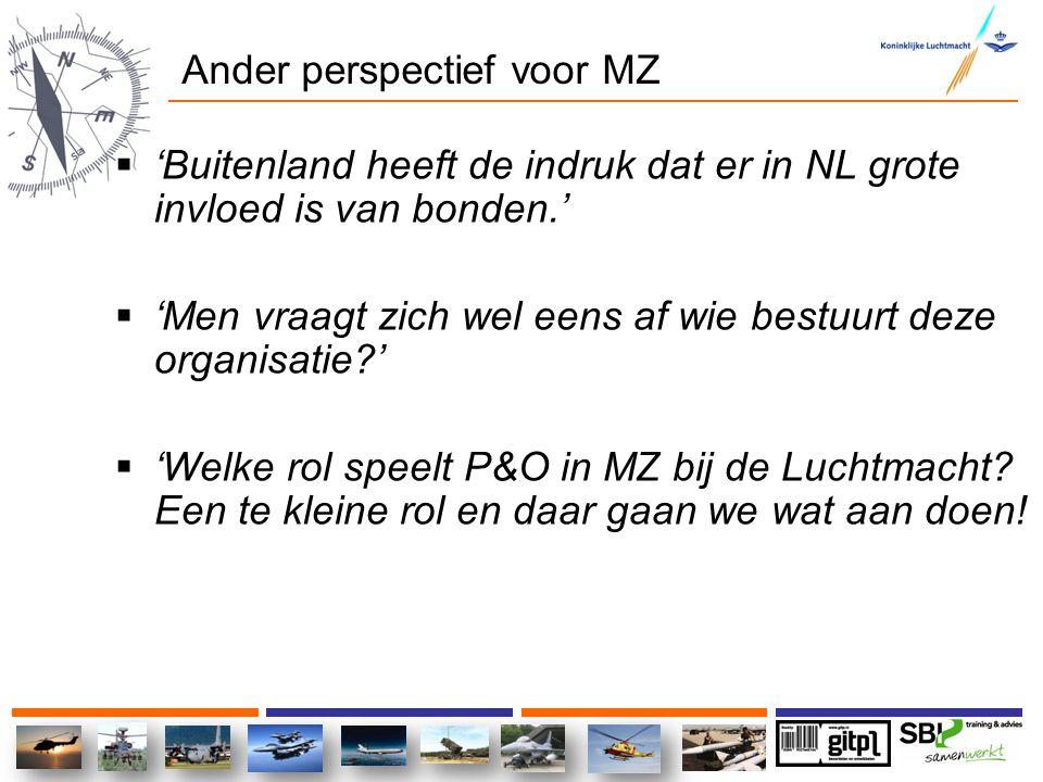 Ander perspectief voor MZ  'Buitenland heeft de indruk dat er in NL grote invloed is van bonden.'  'Men vraagt zich wel eens af wie bestuurt deze or