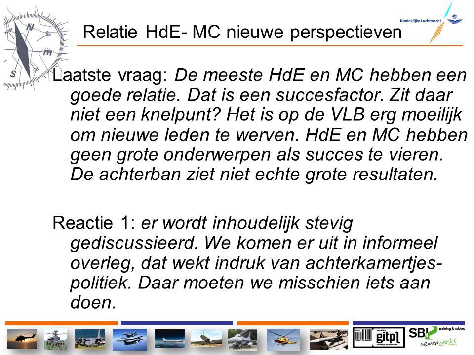 Relatie HdE- MC nieuwe perspectieven Laatste vraag: De meeste HdE en MC hebben een goede relatie. Dat is een succesfactor. Zit daar niet een knelpunt?