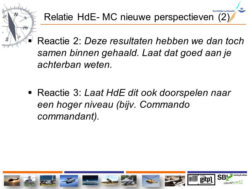 Relatie HdE- MC nieuwe perspectieven (2)  Reactie 2: Deze resultaten hebben we dan toch samen binnen gehaald. Laat dat goed aan je achterban weten. 