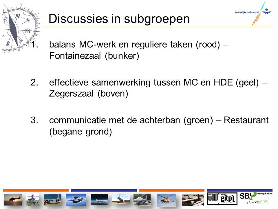 Discussies in subgroepen 1.balans MC-werk en reguliere taken (rood) – Fontainezaal (bunker) 2.effectieve samenwerking tussen MC en HDE (geel) – Zegers