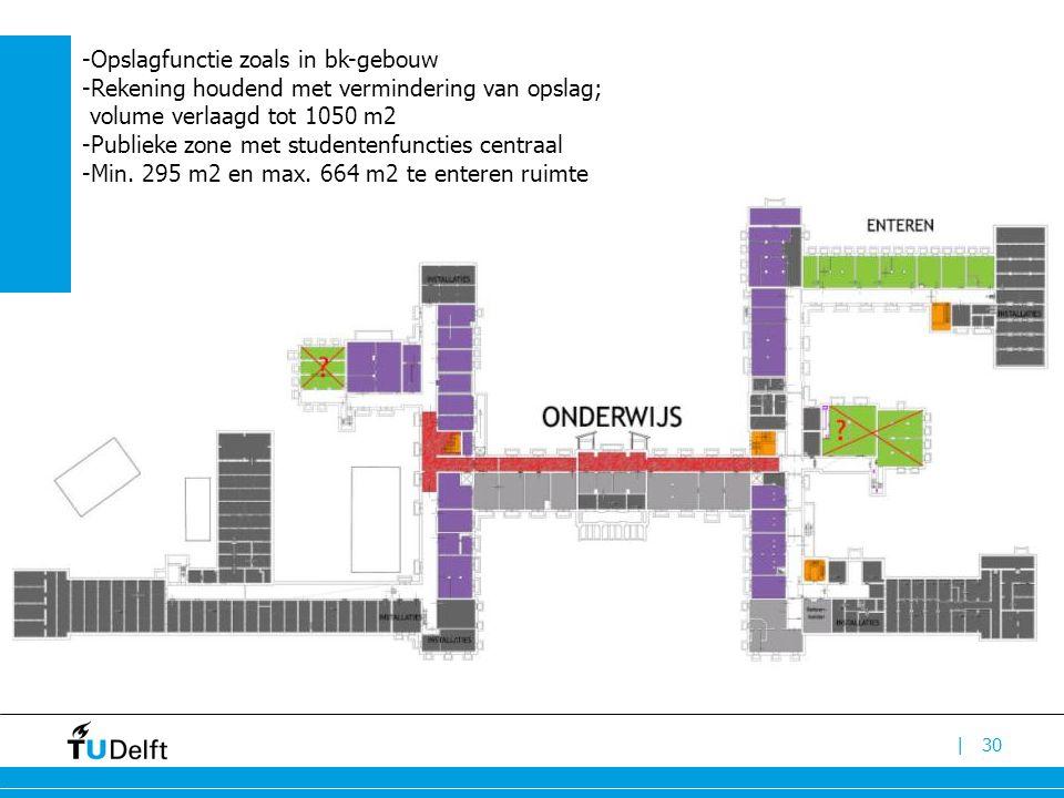 |30 -Opslagfunctie zoals in bk-gebouw -Rekening houdend met vermindering van opslag; volume verlaagd tot 1050 m2 -Publieke zone met studentenfuncties