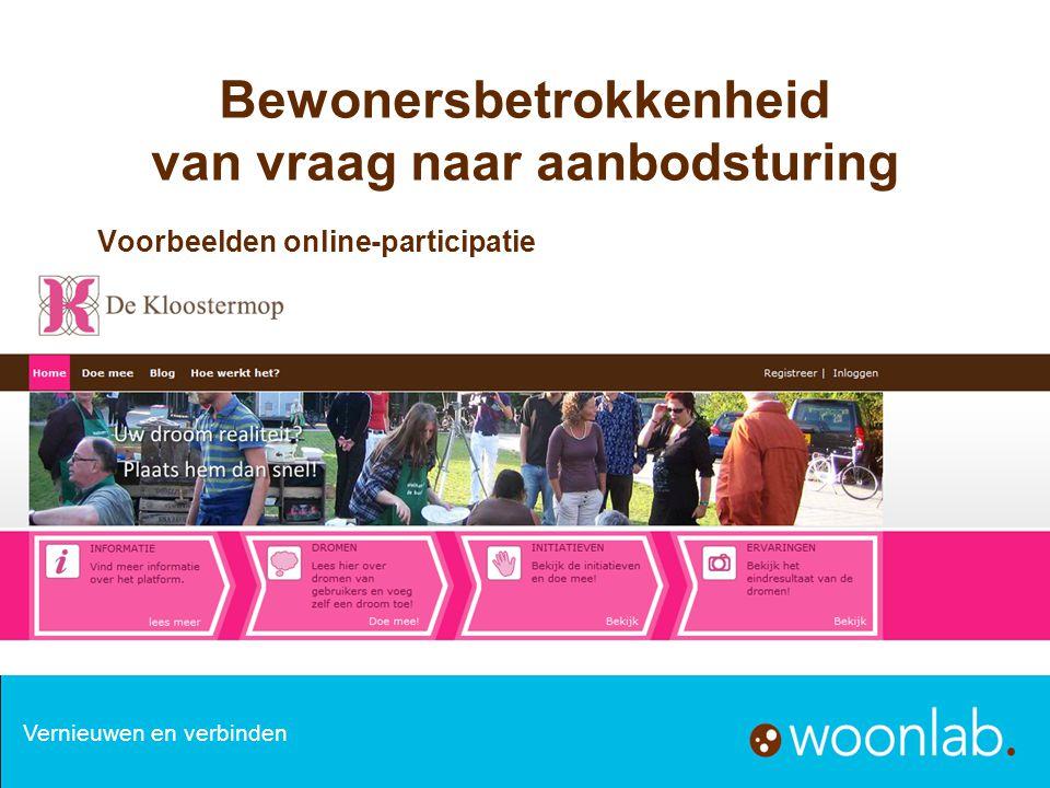 Bewonersbetrokkenheid van vraag naar aanbodsturing Voorbeelden online-participatie Vernieuwen en verbinden