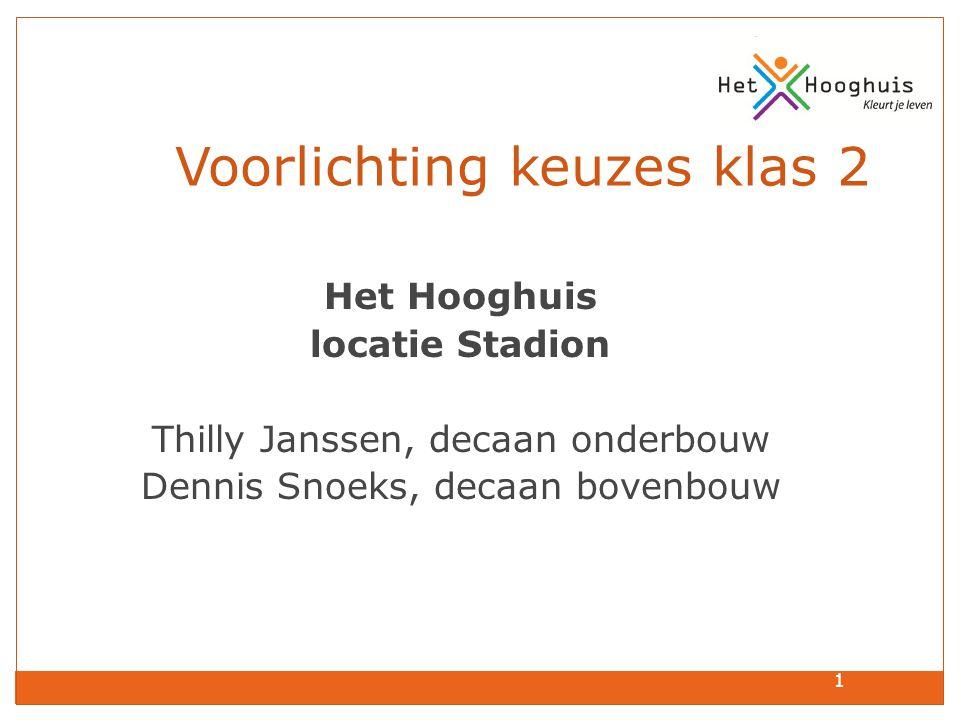 1 Voorlichting keuzes klas 2 Het Hooghuis locatie Stadion Thilly Janssen, decaan onderbouw Dennis Snoeks, decaan bovenbouw