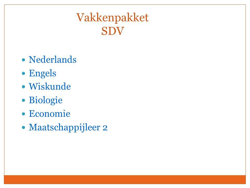 Vakkenpakket SDV Nederlands Engels Wiskunde Biologie Economie Maatschappijleer 2