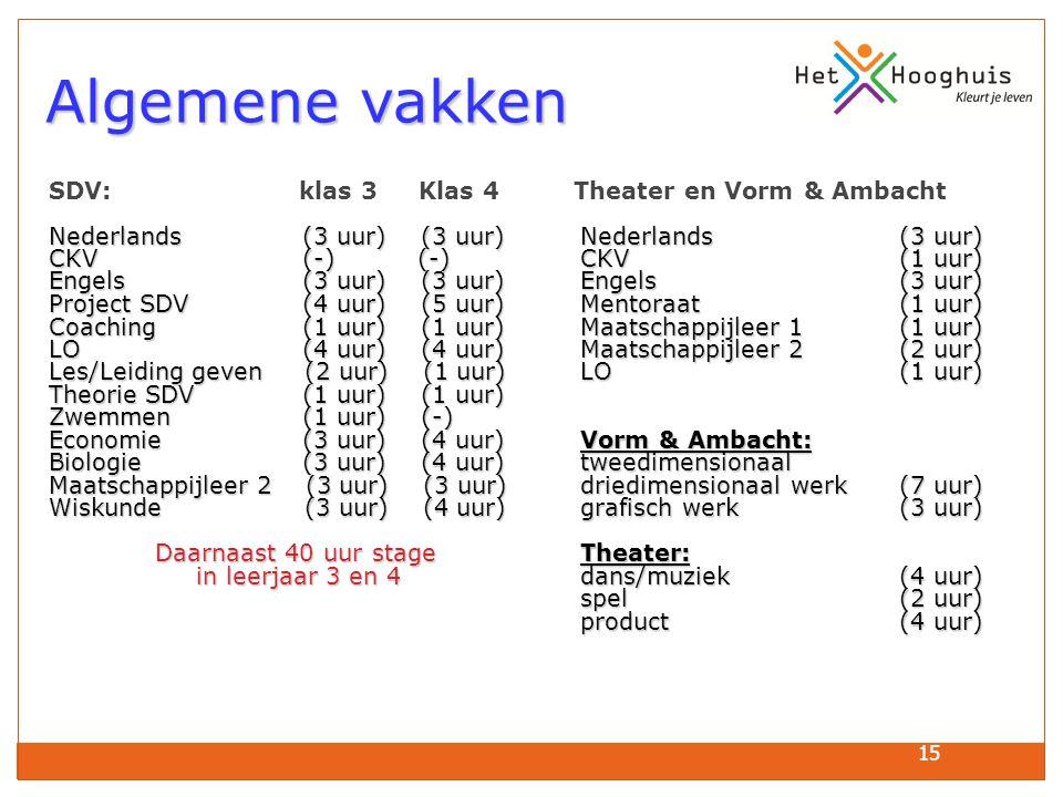 15 Algemene vakken Algemene vakken SDV: klas 3 Klas 4 Theater en Vorm & Ambacht Nederlands (3 uur) (3 uur)Nederlands (3 uur) CKV (-) (-)CKV(1 uur) Eng