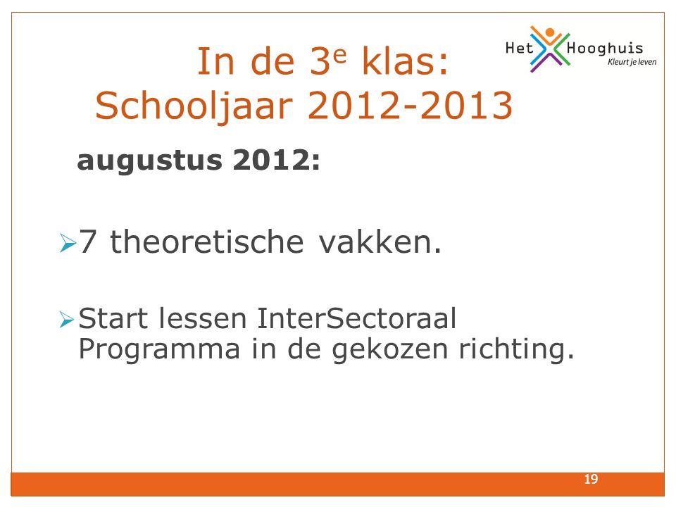 19 In de 3 e klas: Schooljaar 2012-2013 augustus 2012:  7 theoretische vakken.  Start lessen InterSectoraal Programma in de gekozen richting.