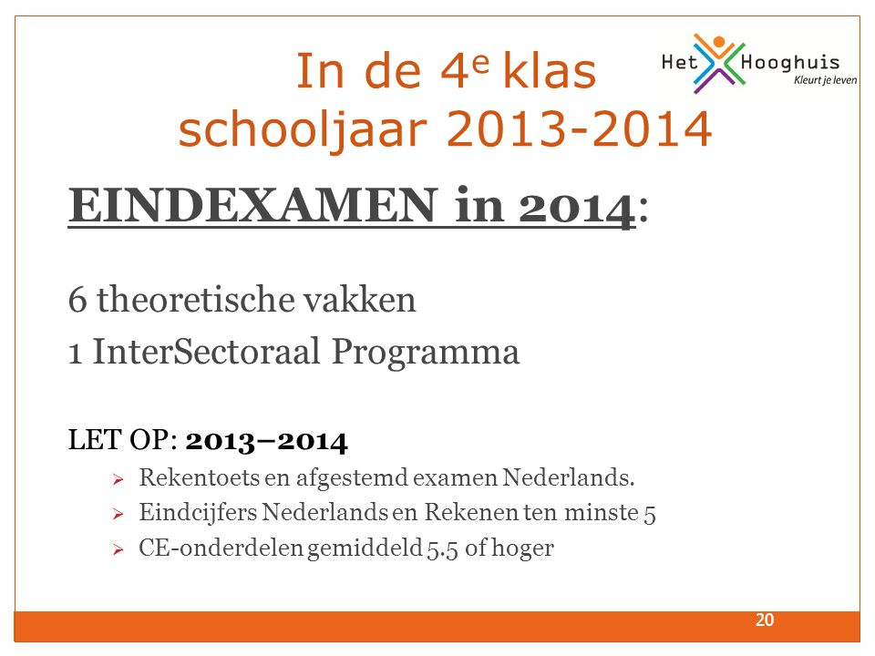 20 In de 4 e klas schooljaar 2013-2014 EINDEXAMEN in 2014: 6 theoretische vakken 1 InterSectoraal Programma LET OP: 2013–2014  Rekentoets en afgestem