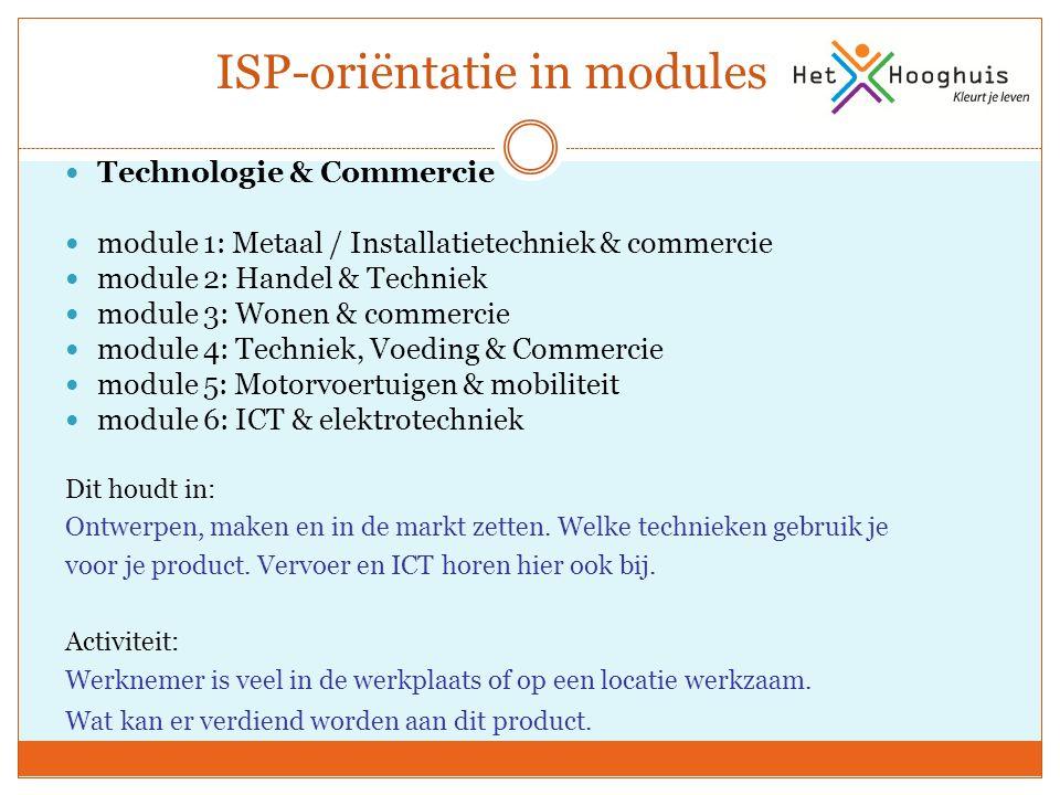 ISP-oriëntatie in modules Technologie & Commercie module 1: Metaal / Installatietechniek & commercie module 2: Handel & Techniek module 3: Wonen & com