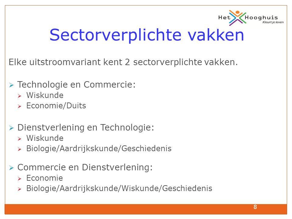 8 Sectorverplichte vakken Elke uitstroomvariant kent 2 sectorverplichte vakken.  Technologie en Commercie:  Wiskunde  Economie/Duits  Dienstverlen
