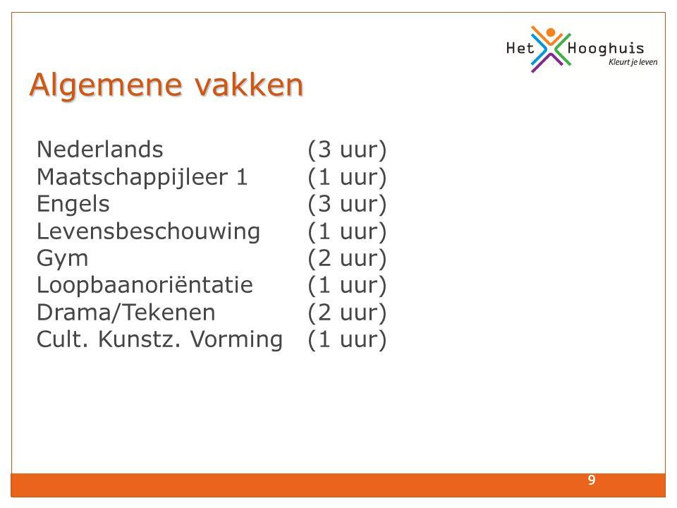 9 Algemene vakken Algemene vakken Nederlands (3 uur) Maatschappijleer 1 (1 uur) Engels (3 uur) Levensbeschouwing (1 uur) Gym (2 uur) Loopbaanoriëntati