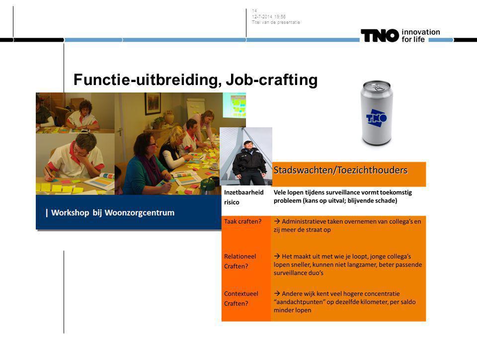 Functie-uitbreiding, Job-crafting 12-7-2014 19:58 Titel van de presentatie 14