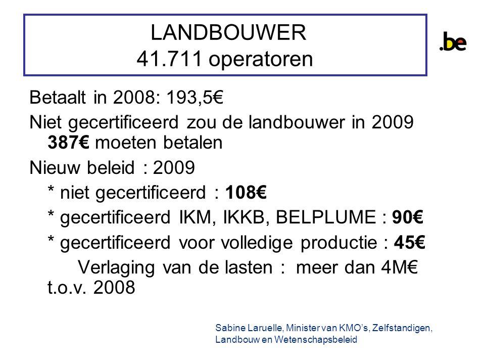 LANDBOUWER 41.711 operatoren Betaalt in 2008: 193,5€ Niet gecertificeerd zou de landbouwer in 2009 387€ moeten betalen Nieuw beleid : 2009 * niet gecertificeerd : 108€ * gecertificeerd IKM, IKKB, BELPLUME : 90€ * gecertificeerd voor volledige productie : 45€ Verlaging van de lasten : meer dan 4M€ t.o.v.