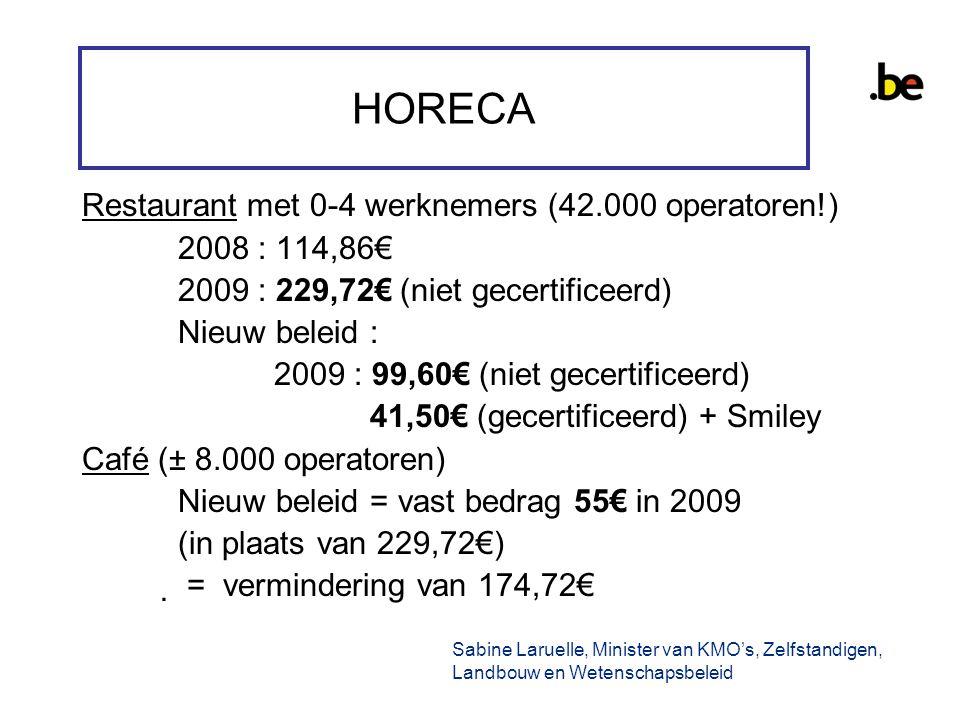 HORECA Restaurant met 0-4 werknemers (42.000 operatoren!) 2008 : 114,86€ 2009 : 229,72€ (niet gecertificeerd) Nieuw beleid : 2009 : 99,60€ (niet gecertificeerd) 41,50€ (gecertificeerd) + Smiley Café (± 8.000 operatoren) Nieuw beleid = vast bedrag 55€ in 2009 (in plaats van 229,72€)  = vermindering van 174,72€ Sabine Laruelle, Minister van KMO's, Zelfstandigen, Landbouw en Wetenschapsbeleid