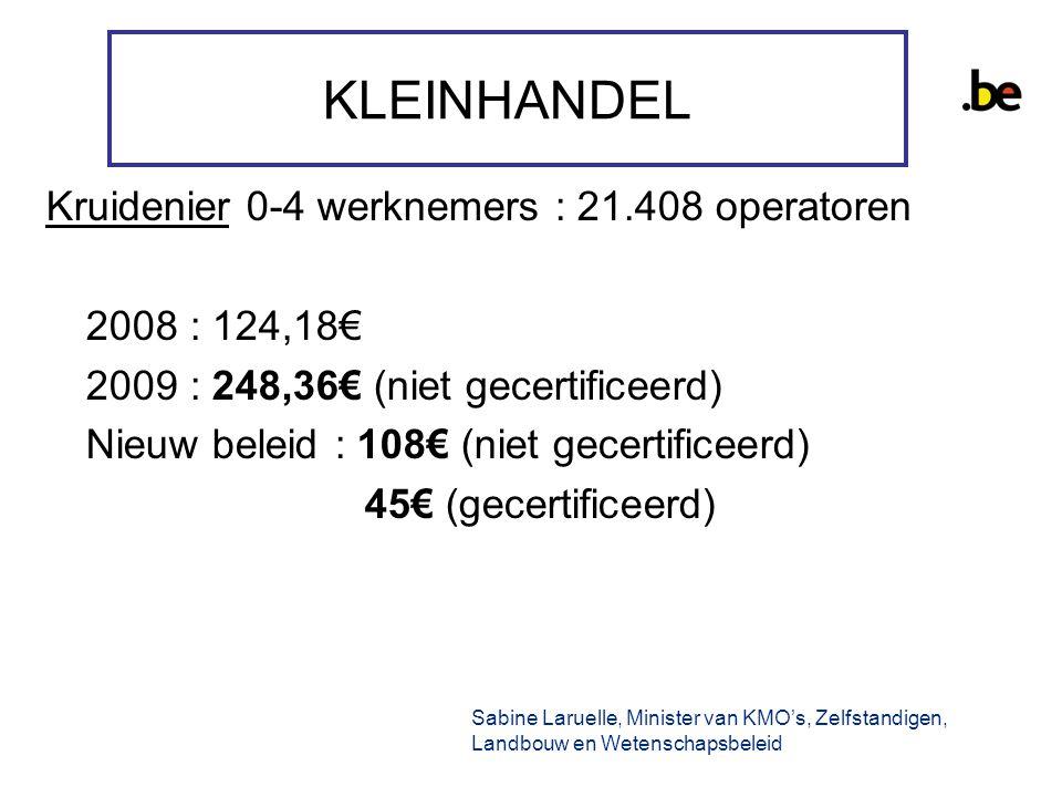 KLEINHANDEL Kruidenier 0-4 werknemers : 21.408 operatoren 2008 : 124,18€ 2009 : 248,36€ (niet gecertificeerd) Nieuw beleid : 108€ (niet gecertificeerd) 45€ (gecertificeerd) Sabine Laruelle, Minister van KMO's, Zelfstandigen, Landbouw en Wetenschapsbeleid