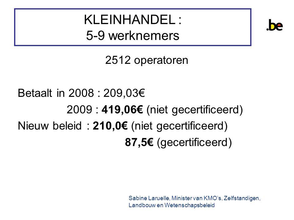 KLEINHANDEL : 5-9 werknemers 2512 operatoren Betaalt in 2008 : 209,03€ 2009 : 419,06€ (niet gecertificeerd) Nieuw beleid : 210,0€ (niet gecertificeerd) 87,5€ (gecertificeerd) Sabine Laruelle, Minister van KMO's, Zelfstandigen, Landbouw en Wetenschapsbeleid