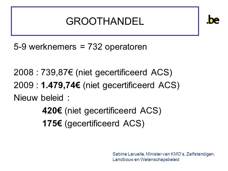 GROOTHANDEL 5-9 werknemers = 732 operatoren 2008 : 739,87€ (niet gecertificeerd ACS) 2009 : 1.479,74€ (niet gecertificeerd ACS) Nieuw beleid : 420€ (niet gecertificeerd ACS) 175€ (gecertificeerd ACS) Sabine Laruelle, Minister van KMO's, Zelfstandigen, Landbouw en Wetenschapsbeleid