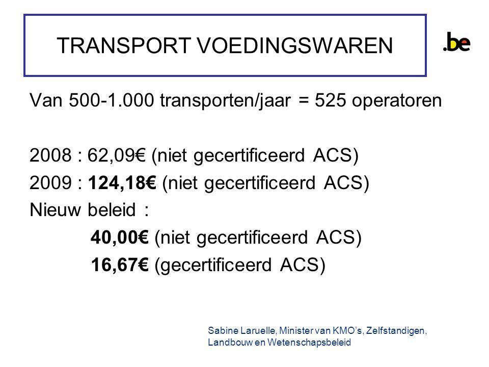 TRANSPORT VOEDINGSWAREN Van 500-1.000 transporten/jaar = 525 operatoren 2008 : 62,09€ (niet gecertificeerd ACS) 2009 : 124,18€ (niet gecertificeerd ACS) Nieuw beleid : 40,00€ (niet gecertificeerd ACS) 16,67€ (gecertificeerd ACS) Sabine Laruelle, Minister van KMO's, Zelfstandigen, Landbouw en Wetenschapsbeleid
